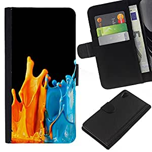 KLONGSHOP // Tirón de la caja Cartera de cuero con ranuras para tarjetas - Pinte salpica Naranja Azul Arte Moderno - Sony Xperia Z2 D6502 //