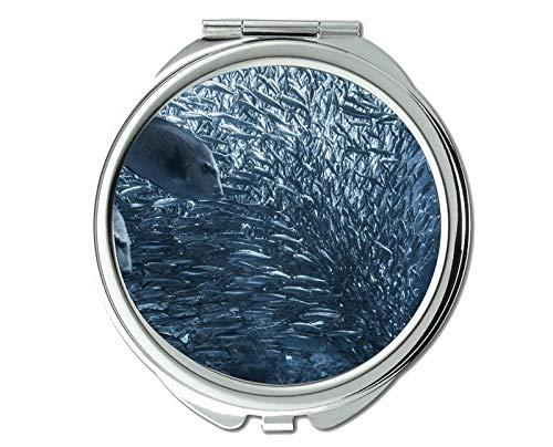 Mirror,makeup mirror,tropical fish theme of Pocket Mirror,portable mirror 1 X 2X -