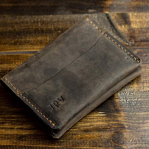 Bi Leather Distressed Fold (Pegai Personalized Modern Minimalist Credit Card Wallet, Distressed Leather Bifold Card Wallet - Champaign   Chestnut Brown)
