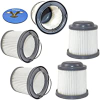 HQRP 5-pack Washable Filter for Black & Decker BDH2000PL, BDH1600PL, BDH2020FLFH, BDH1620FLFH, BDH2020FLFH Flex Lithium Pivot Vac Vacuums + HQRP Coaster