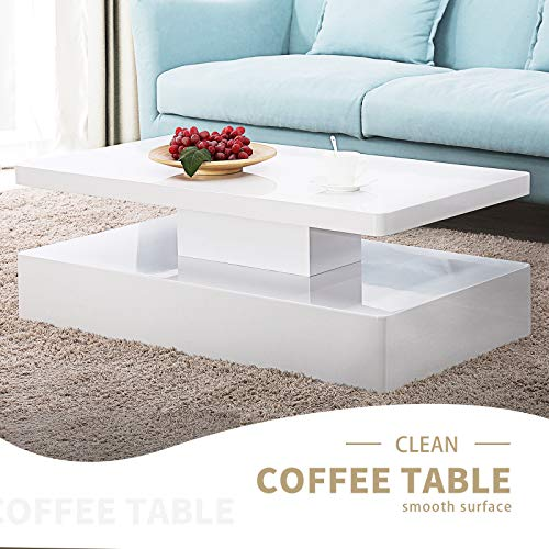 - Modern Style Console Sofa Side Night TV Stand Bar High Gloss Coffee Table with LED 16 Light Effects Open Large Storage for Living Room Office 43.323.615.4'' Inch