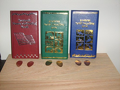 THREE Elongated Penny Souvenir Collecting Books/Albums with 5 FREE Pressed Pennies!