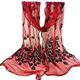 TsmileWomen Long Wrap Peacock Flower Embroidered Lace Scarf Soft Shawl (Red)