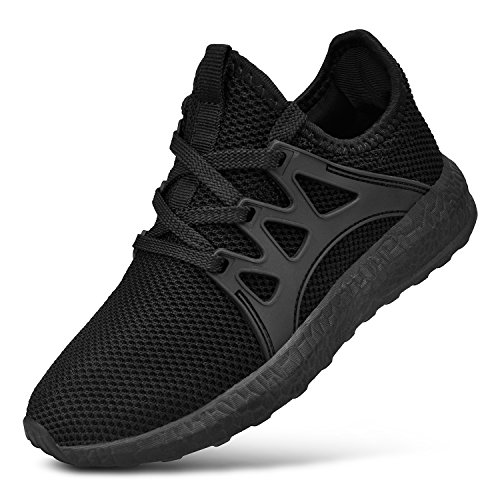 Feetmat Shoes for Boys Lightweight Breathable Kids Running Shoes Lace up Girls Sports Tennis Shoes Black 2.5