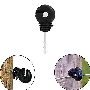 VinBee 60Pcs Black Electric Fence Insulator Screw-in Insulator Fence Ring Post Wood Post Insulator