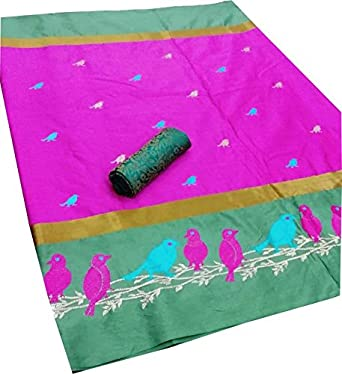 3abb6615e4b6dc DEVPRIYA ENTERPRISE women's Pink PURE SOFT COTTON SILK SAREE WITH BEAUTIFUL EMBROIDERY  DESIGNS WORK SAREE WITH DOUBLE BLOUSE