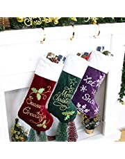 GEX Christmas Stockings Embroidery Classic Luxury Velvet Large Hanging Ornament Decorations for Fireplace Xmas Tree Holiday Party