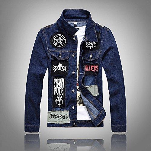 YLSZ-jacket Chaqueta de Dril de algodón de manga larga chaqueta de dril coreano hombres chaqueta de dril de algodón de manga larga chaqueta de dril parche Hombres chaqueta, XXL