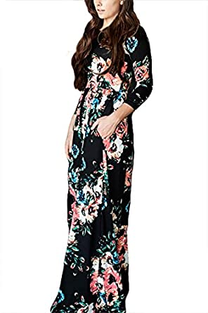 Floral Printed Retro Vintage Long Dress, YONYWA Women's 3/4 Sleeve Spring Flower Casual Floor Length Maxi Dress
