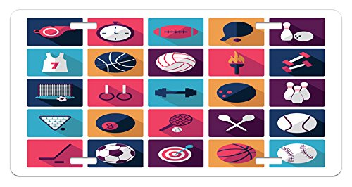 Olympics License Plate by Ambesonne, Sports Icons Image with Whistle Stopwatch Bowling and Various Types of Balls, High Gloss Aluminum Novelty Plate, 5.88 L X 11.88 W Inches, Navy ()