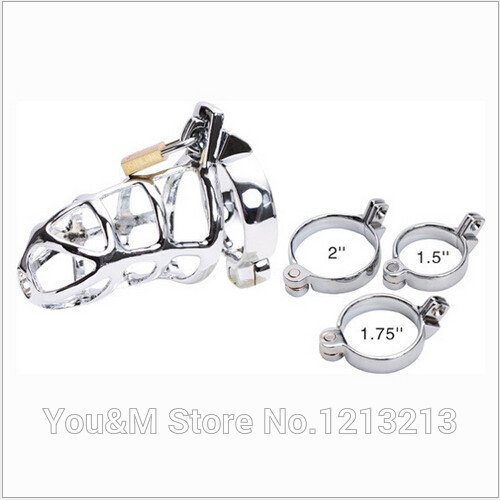 HSMazalea Top Quality Sexy Slave Male Metal Chastity Device Cock Cages Men's Virginity Lock Penis Rings Adult Prodcuts Games Sex Toys M300 by HSMazalea