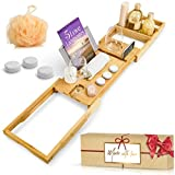 Spa Accessories for Hot Tub, Bamboo Bathtub Caddy Tray, 100% Organic, Extendable Sides, Waterproof, Book/iPad/Tablet Holder | Luxury Set: 3 Pack Lavender Smell Bath Bombs and Bath Sponge as a Bonus.