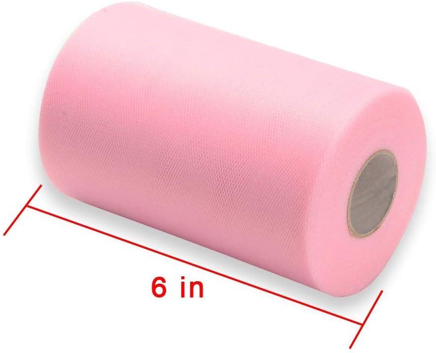 6 인치 X 100 야드 핑크 튤 롤 스풀 패브릭 테이블 러너 의자 새시 보우 투투 스커트 바느질 직물 웨딩 파티 선물 리본 패브릭 튤 롤