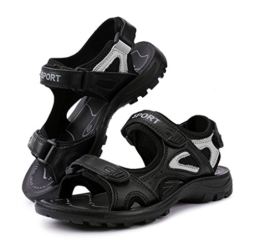 Sandal Women's Leather Black Athletic Outdoor Kunsto Genuine Sport wqFxYqT8