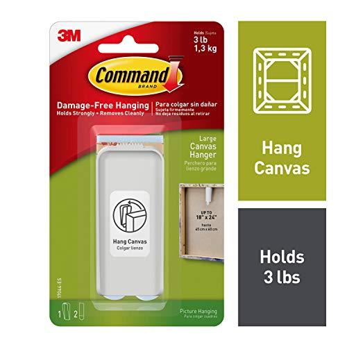 Command Canvas Hanger, Large, 1-Hanger & 2 Strips , White