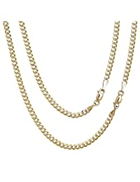 Floreo 10k Fine Gold Curb Cuban Chain Necklace for Men and Women, 0.16 Inch (4mm)