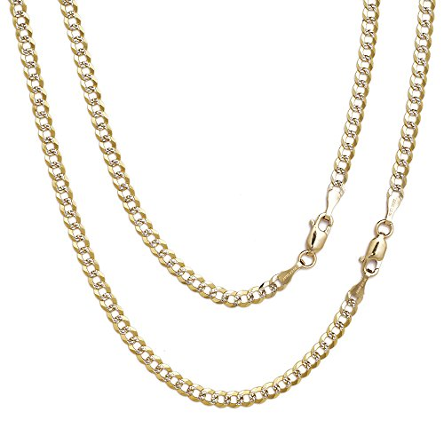 24 Inch 10k Two-Tone Gold Curb Cuban Chain Necklace with White Pave for Men and Women, 0.16