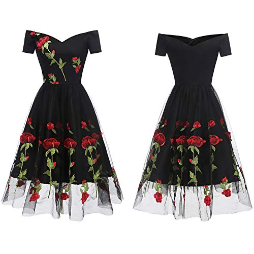 Aofur Women's Vintage Style Rose Embroidered 1950s Rockabilly Evening Party Lace Swing Tea Dress A Line Dresses (XX-Large, Black_Red_Rose) by Aofur (Image #1)