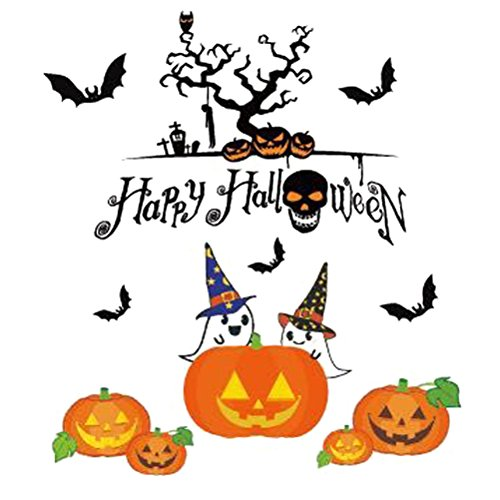 BESTOYARD Happy Halloween Pumpkins Spooky Cemetery Witch and Bats Tomb Wall Decals Window Stickers Halloween Decorations for Kids Rooms Nursery Halloween Bar Party (Number -