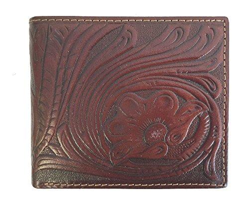 Hand Tooled Leather Wallet (Montana West Men's Genuine Leather Bi-fold Wallet Tooled Basket Weave Floral Leaves)