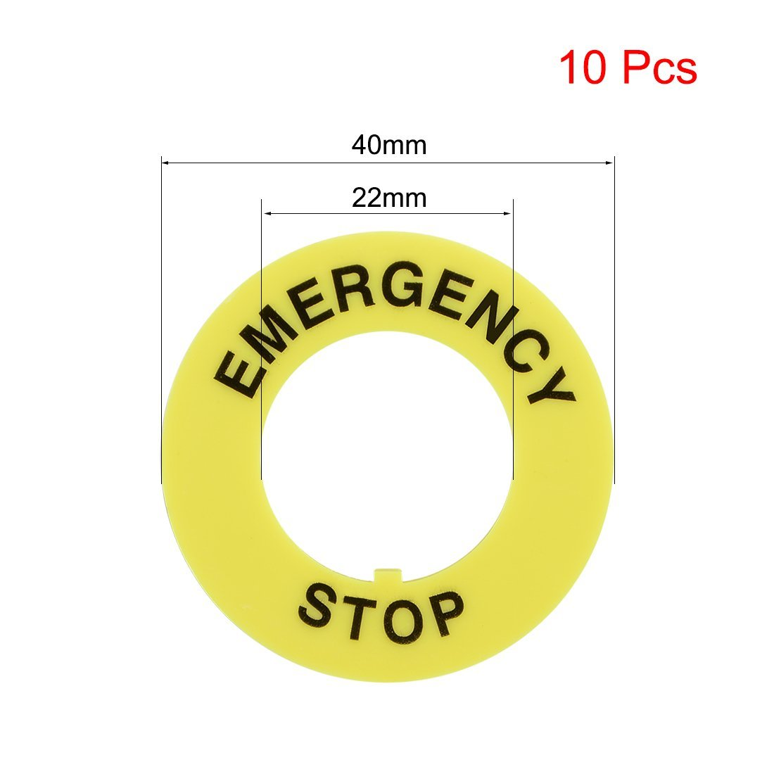 uxcell 2 Pcs 22mm Inner Diameter Emergency Stop Sign For Push Button Switch Replacement