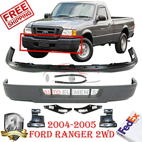 New Front Bumper Black For 2004-2005 Ford Ranger 2wd XL XLT Lower Valance Textured Reinforcement Bracket LH & RH Side w/o Fog Light Holes Direct Replacement Set Of 6 FO1002379 FO1066143 FO1067143