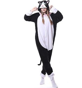 SHANGLY Pijama Animal Kigurumi Gato Negro Onesies Mujeres Adultas Polar Fleece Suelto Lindo Invierno cálido Ropa de Dormir,S: Amazon.es: Hogar