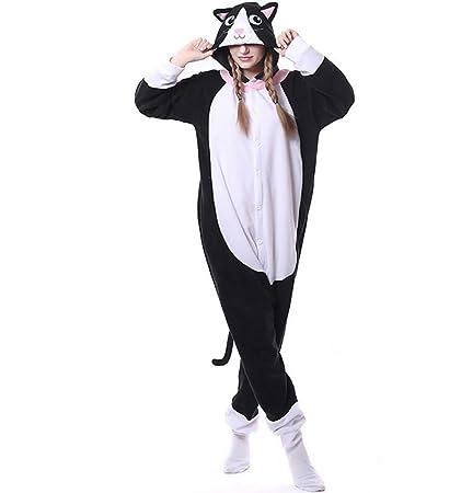 SHANGXIAN Animal Adulto Negro Pijama Dibujos Animados Gato De Cara Blanca Kigurumi Onesies Halloween Ropa De
