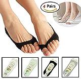 Women's No Show Peep Toe Sock Cotton Low Cut Non Slip Shoe Liner Open Toe 4 Pack