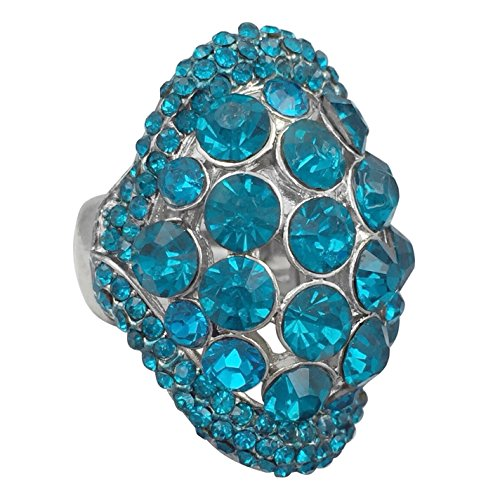Gypsy Jewels Large Abstract Rhinestone Statement Big Stretch Cocktail Ring (Aqua Blue Oval Dome)