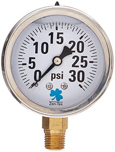 Zenport LPG30 Zen-Tek Glycerin Liquid Filled Pressure Gauge, 30 PSI