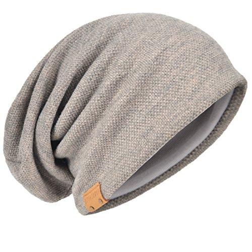 HISSHE - Gorro de Punto - para Hombre Solid-Khaki