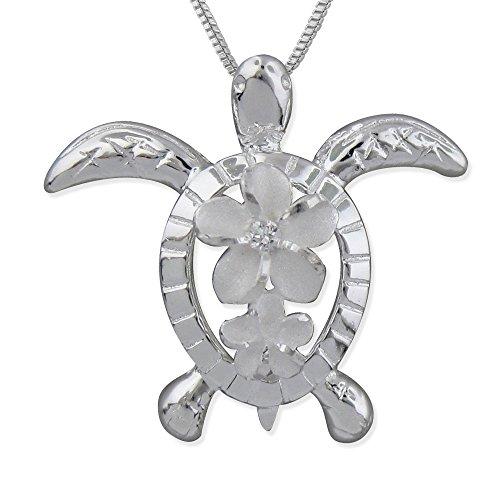 Sterling Silver Turtle Plumeria Pendant Necklace, 16+2