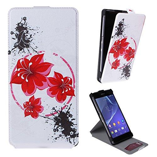 Xtra-Funky Exclusivo Cuero estilo del tirón cubierta de la caja de la carpeta con hermosas púrpura elegante floral de la flor y mariposas Diseños para Sony Xperia Z2 - Diseño B30 B18