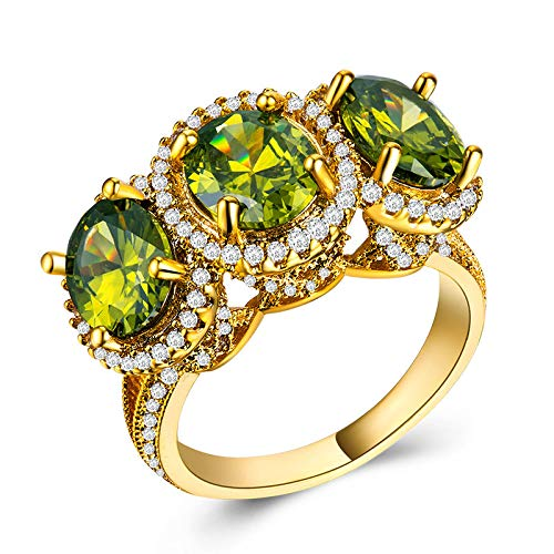 MGZDH Zircon Ring Ring Ladies Zircon Ring Plated 18k Gold Ladies Ring Number 8 Olive Green