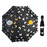 iMucci Changing Color Butterfly UV 50+ Compact Umbrella - Raining Multi Coloured Folding Travel Auto Umbrellas ...