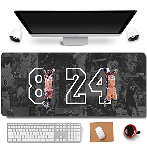 31.5x11.8 Inch Cool Legend Black Mamba Kobe Non-Slip Rubber Extended Large Game Mouse Pad Computer Keyboard Mouse Mat PC Accessories (8-Dunk 8&24)