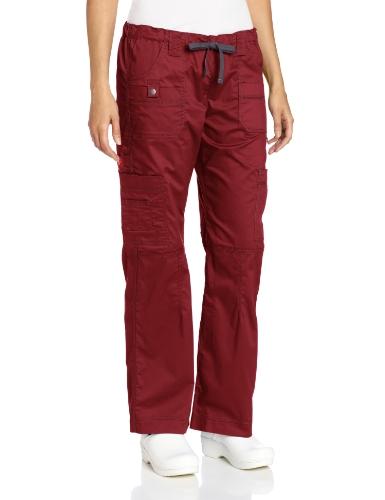 Waist Uniform Drawstring Scrubs - Dickies Women's Genflex Cargo Scrubs Pant, Wine, Large