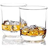 REATR 10-Ounce Whiskey Glass set of 2 Cocktail Scotch Glasses Bourbon Cognac Tequila or Liquor Rocks Glass Tumbler Bar Glassware Round Whisky Glasses Lead Free Old Fashioned Glasses Drinking Glasses