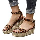 Women Gladiator Summer Sandals,❤️Maonet Women's Ladies Strap Ankle Buckle Platform Wedges Woven Sandals Roman Shoes 3cm-5cm (US:5, Multicolor)