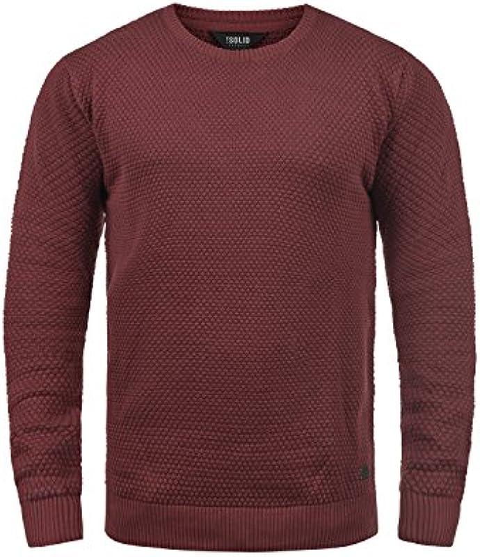 !Solid Karl O-Neck męski sweter z dzianiny drobno dziany sweter z okrągłym wycięciem pod szyją: Odzież