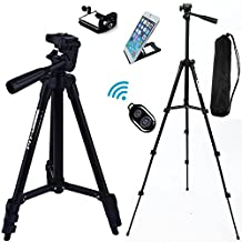 """FOANT Aluminum Professional Lightweight Camera Tripod for iPhone, Cellphone,Gopro Hero,Cameras,Recorders with Cellphone Holder Clip and Remote Shutter-43""""/Black"""