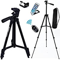 FOANT Aluminum Professional Lightweight Camera Tripod for iPhone, Cellphone,Gopro Hero,Cameras,Recorders with Cellphone Holder Clip and Remote Shutter-43/Black
