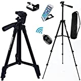 FOANT Aluminum Professional Lightweight Camera Tripod for iPhone, Cellphone,Gopro Hero,Cameras,Recorders with Cellphone Holder Clip and Remote Shutter-43'/Black