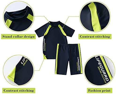2 Piece Set Boys Swimsuit,Wetsuit for Kids 4-12 Years /… Navy KID1234 Swimsuits for Boys