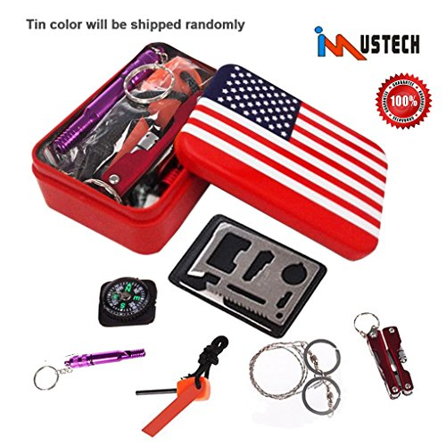 iMustech Survival Gear Kits,11 in 1 Outdoor Emergency SOS Survive Tool for Home Hiking Camping Travel or Adventures – Survival Whistle, Wire Saw, Fire Starter, Compass, Multi Flashlight Clamp ect.