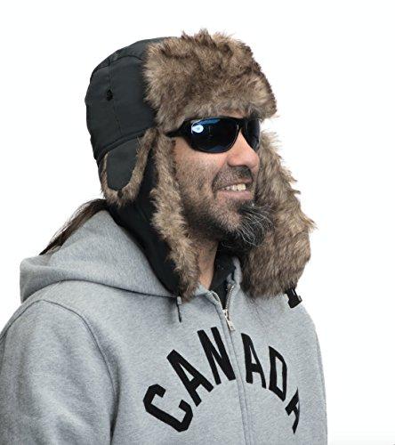 Ushanka Russian Hat – Kopaka Trapper Hunting Hats for Men and Women (Black)