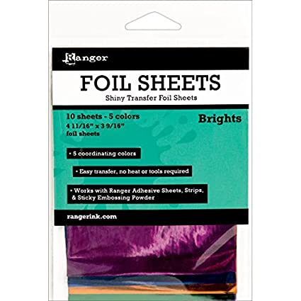 10 Sheets of Shiny Transfer Foil Brights
