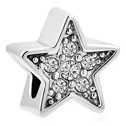 - DemiJewelry Pentagram Bling Crystal Star Charms Beads for Charm Bracelet