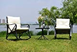 Cheap Feelway Outdoor 3 Pcs Rocking Chair Patio Wicker Furniture Bistro Set Two Chairs One Table Cushioned (PVC Belt)